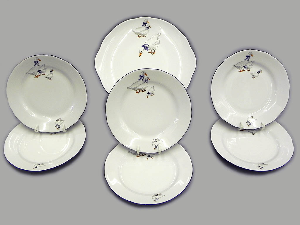 Фото Набор для торта 7 предметов на 6 персон, тарелки 19 см, Форма Мэри-Энн Чешские гуси