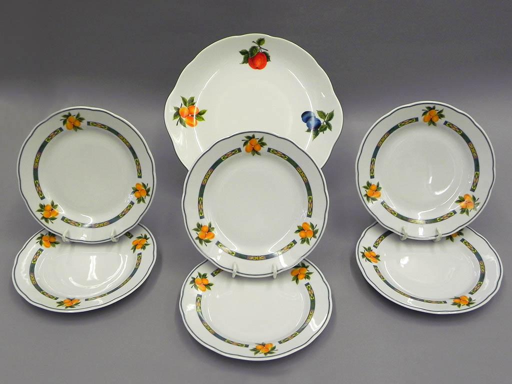 Фото Набор для торта 7 предметов на 6 персон, тарелки 19 см, Форма Мэри-Энн Фрукты