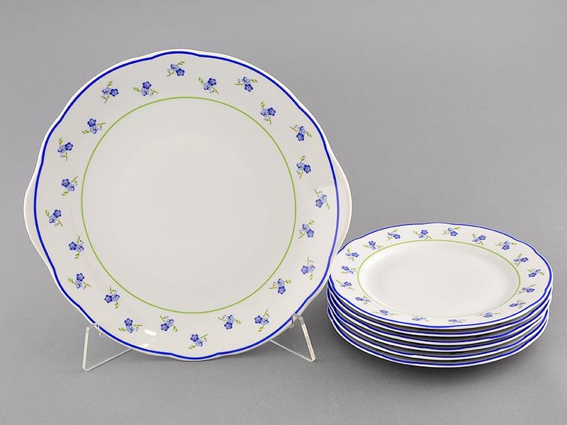 Фото Набор для торта 7 предметов на 6 персон, тарелки 19 см, Форма Мэри-Энн Незабудки