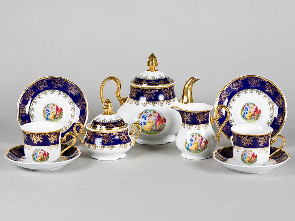 Фото Сервиз чайно-столовый Мадонна кобальт 40 предметов на 6 персон, Леандер Форма Мэри-Энн