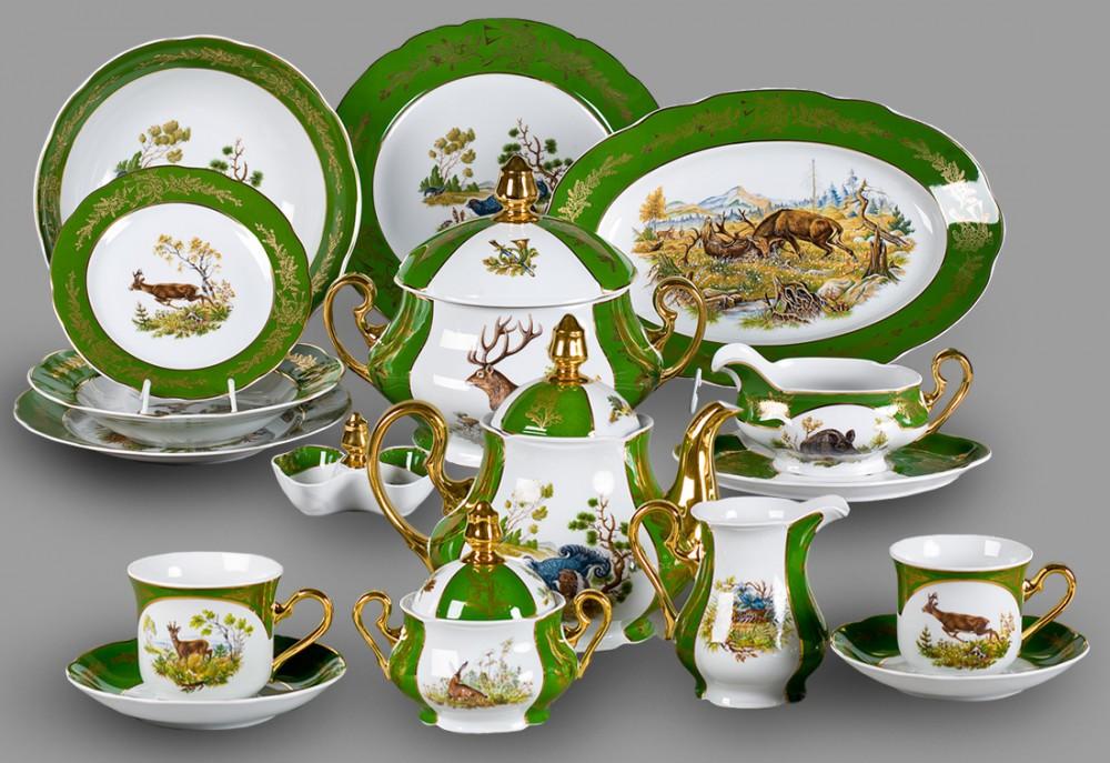 Фото Сервиз чайно-столовый Охотничий изумрудный 40 предметов на 6 персон, Леандер Форма Мэри-Энн