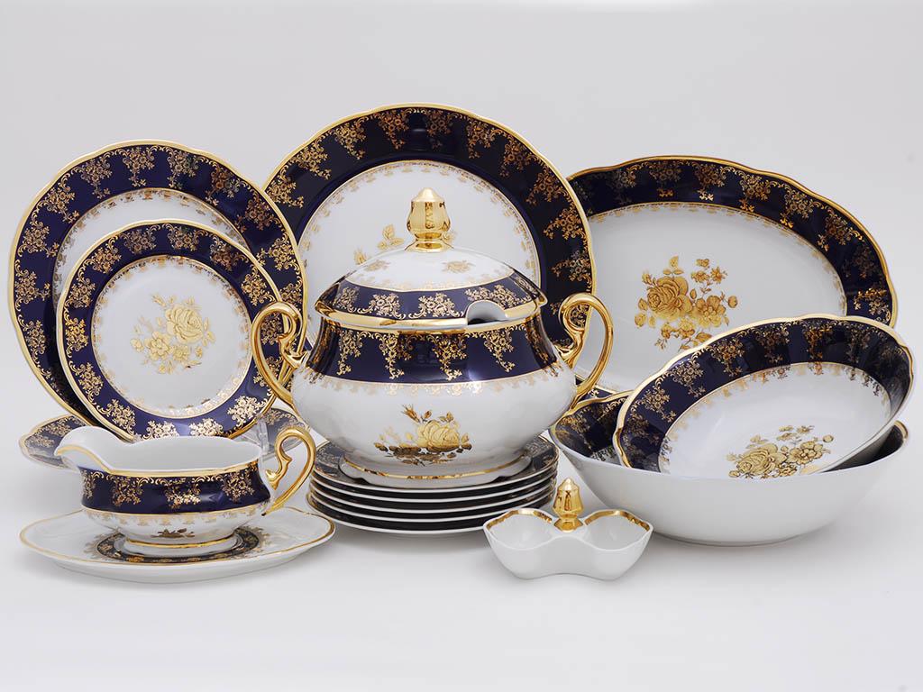 Фото Сервиз столовый 25 предметов на 6 персон, Форма Мэри-Энн Золотая роза кобальт