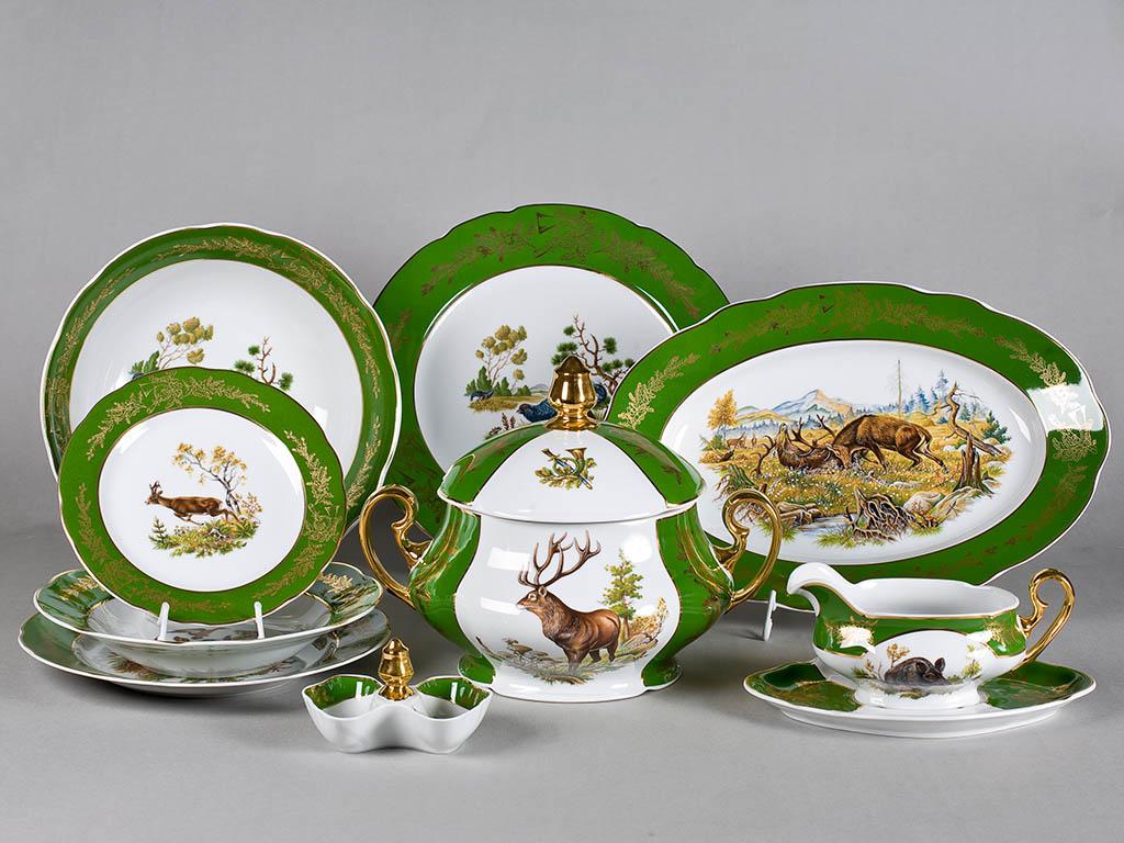 Фото Сервиз столовый 25 предметов на 6 персон, Форма Мэри-Энн Охотничий изумрудный