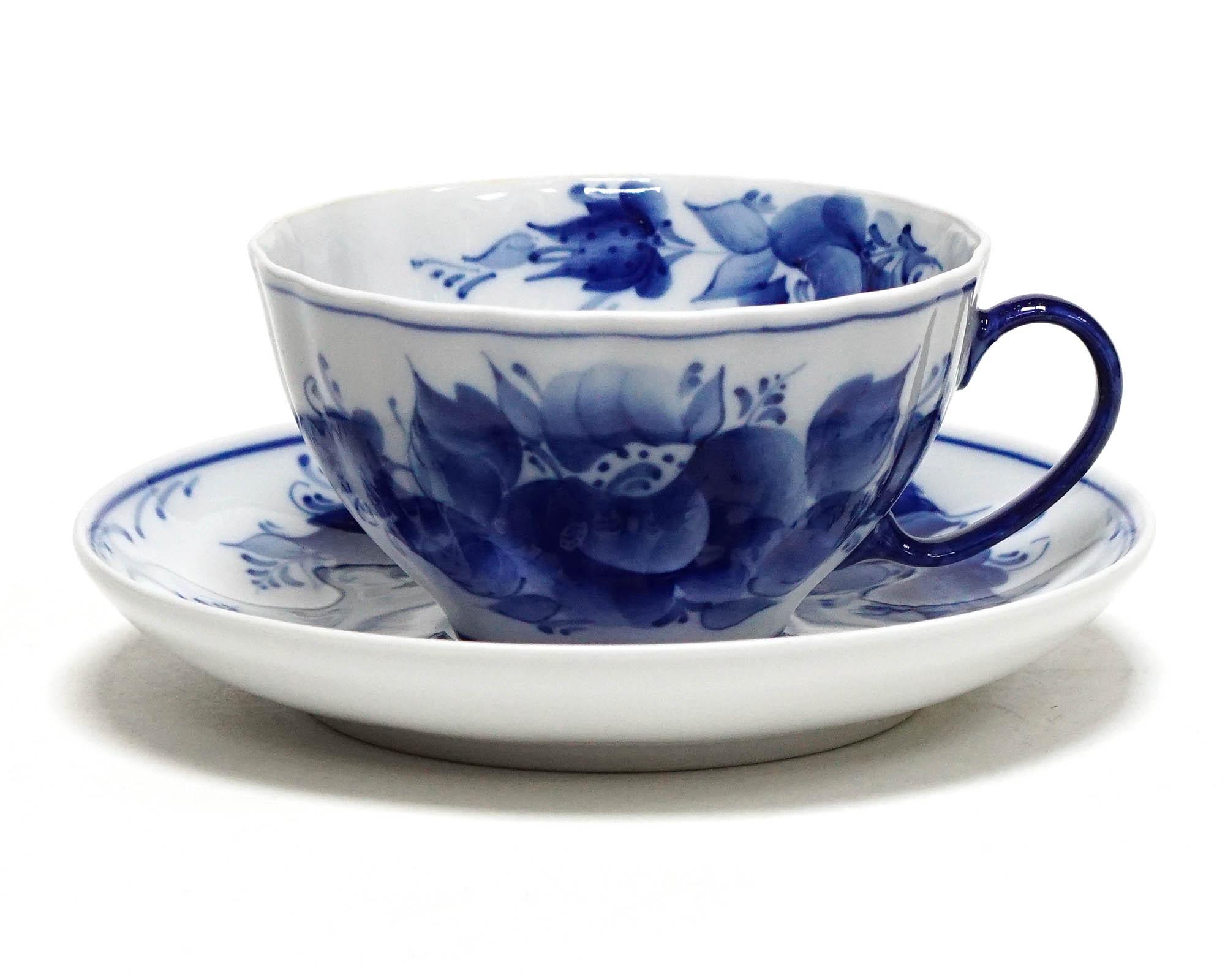 Фото Чашка чайная с блюдцем Гжель 230 мл Белый лебедь Роза