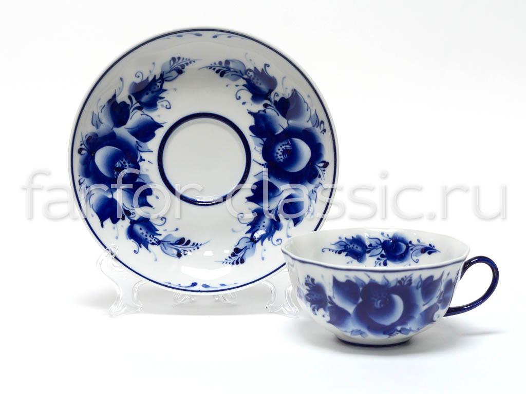 Фото Чашка чайная с блюдцем Гжель Тюльпан Роза 220 мл
