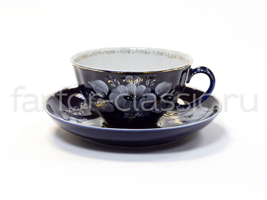Фото Сервиз чайный Гжель, форма Белый лебедь, Глухой кобальт, 15 предметов
