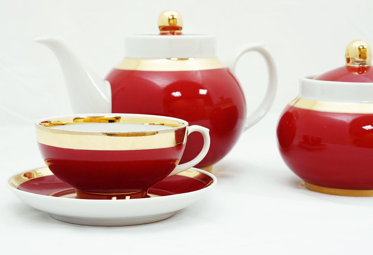 Фото Сервиз чайный Дулево Рубин Рубин, 14 предметов