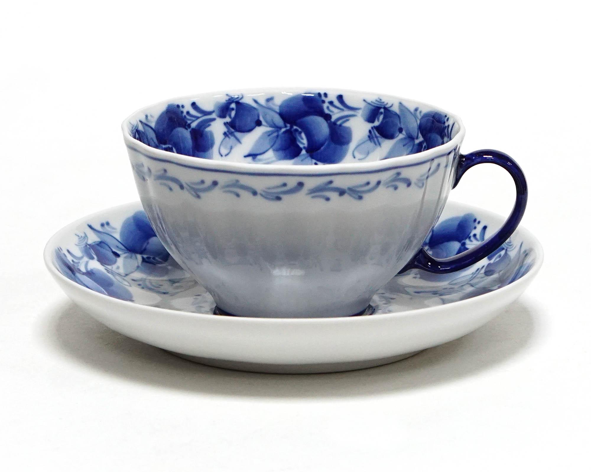 Фото Чашка чайная с блюдцем Гжель 230 мл Белый лебедь Нежность