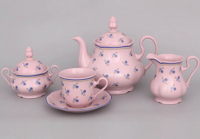 Фото Сервиз чайный 15 предметов на 6 персон, Форма Мэри-Энн Незабудки - Розовый фарфор