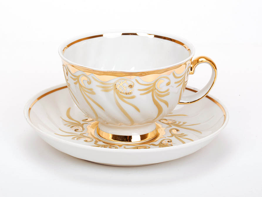 Фото Чашка чайная с блюдцем 350 мл Голубая роза Золотистый