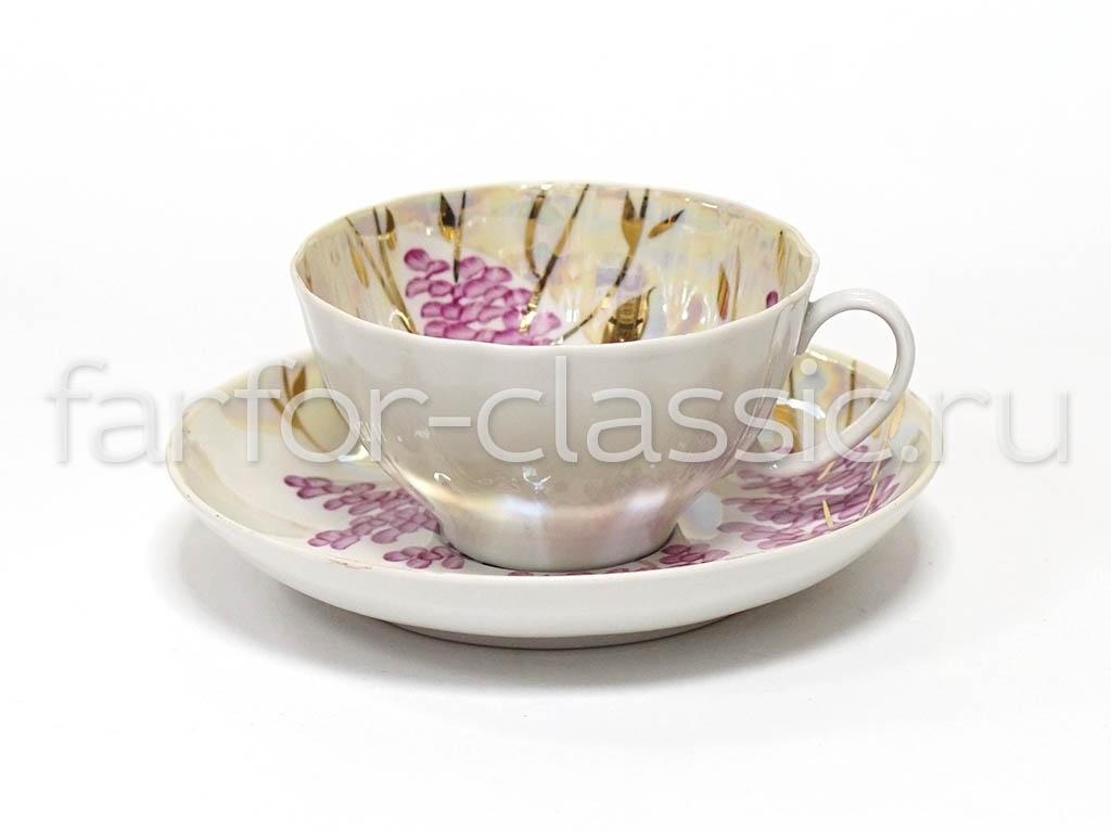 Фото Набор чайных пар Дулево Белый лебедь Розовая сирень 6 шт