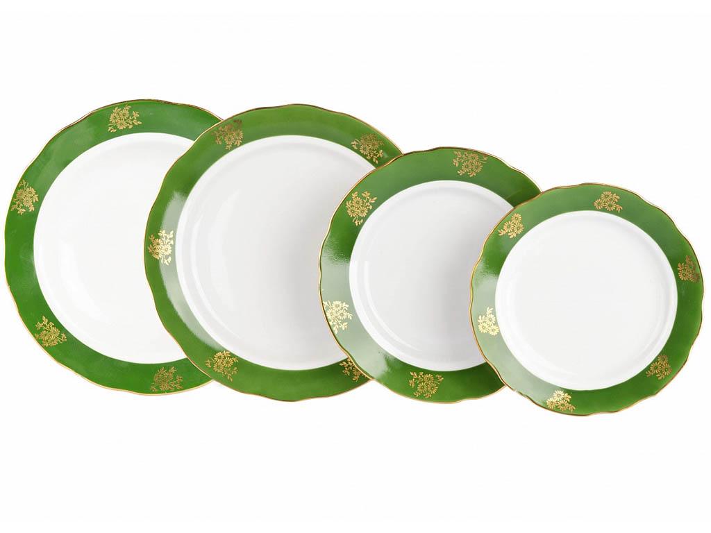 Фото Набор тарелок Дулево Зеленый борт, Вырезной край 24 шт