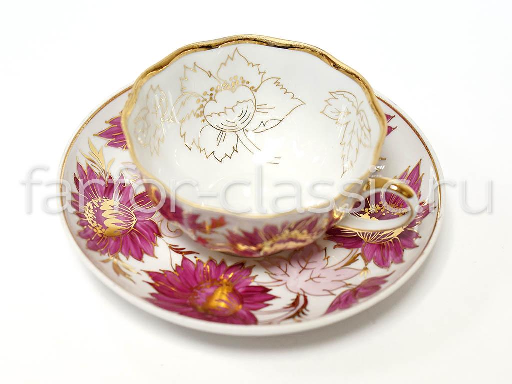 Фото Набор чайных пар Дулево Тюльпан Тюльпаны 6 шт