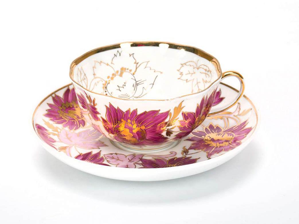 Фото Чашка чайная с блюдцем 200 мл Тюльпан Тюльпаны