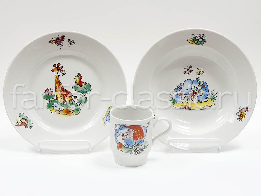 Фото Набор детской посуды Зоопарк - 3 предмета с глубокой тарелкой