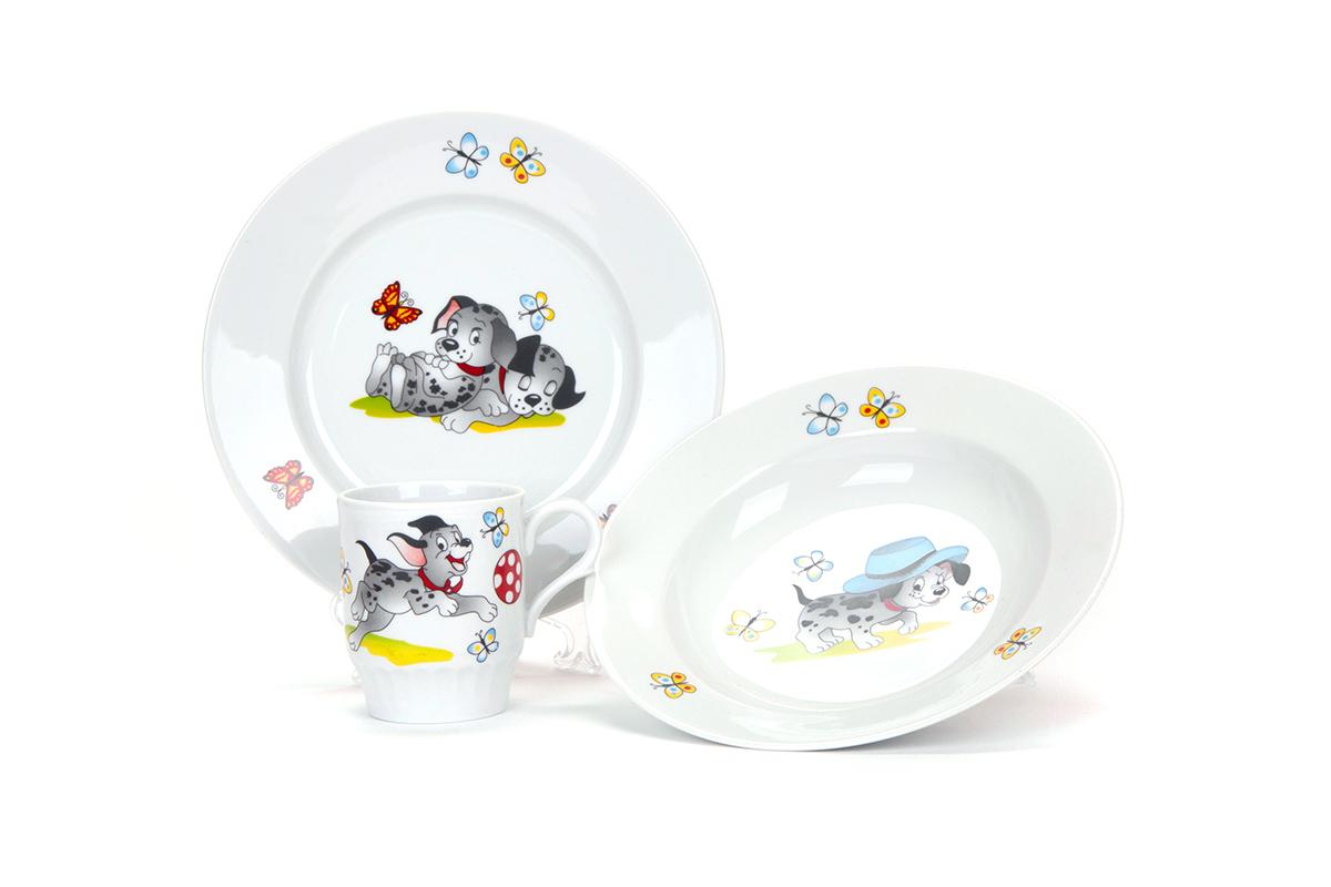 Фото Набор детской посуды Озорные щенки - 3 предмета с глубокой тарелкой