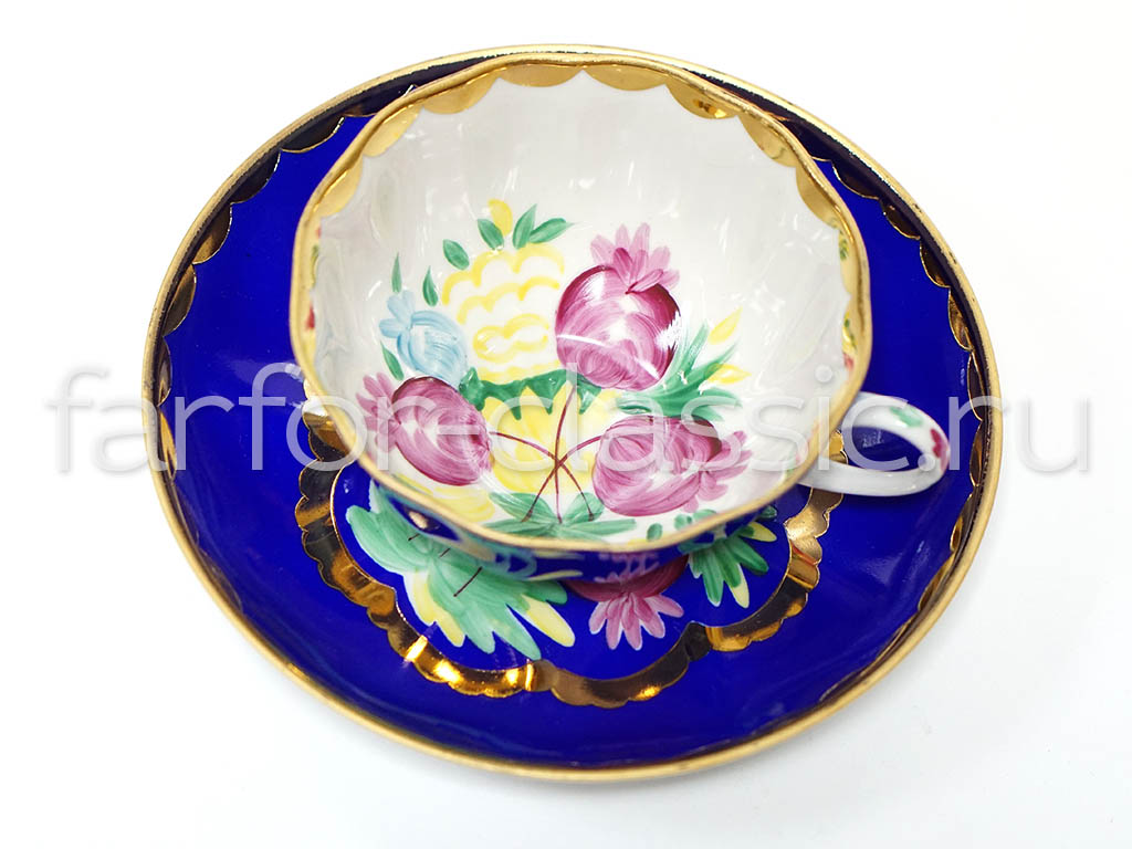 Фото Чашка чайная с блюдцем 200 мл Тюльпан Красавица Синий