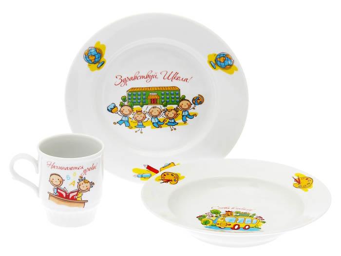 Фото Набор детской посуды Здравствуй школа! 3 предмета