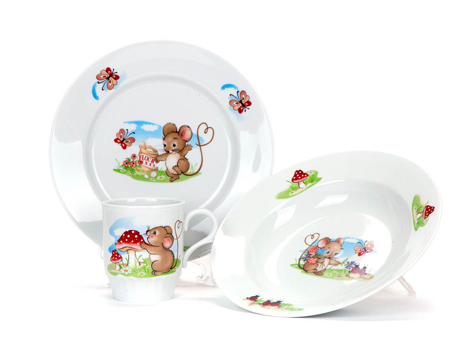 Фото Набор детской посуды Мышата, 3 предмета