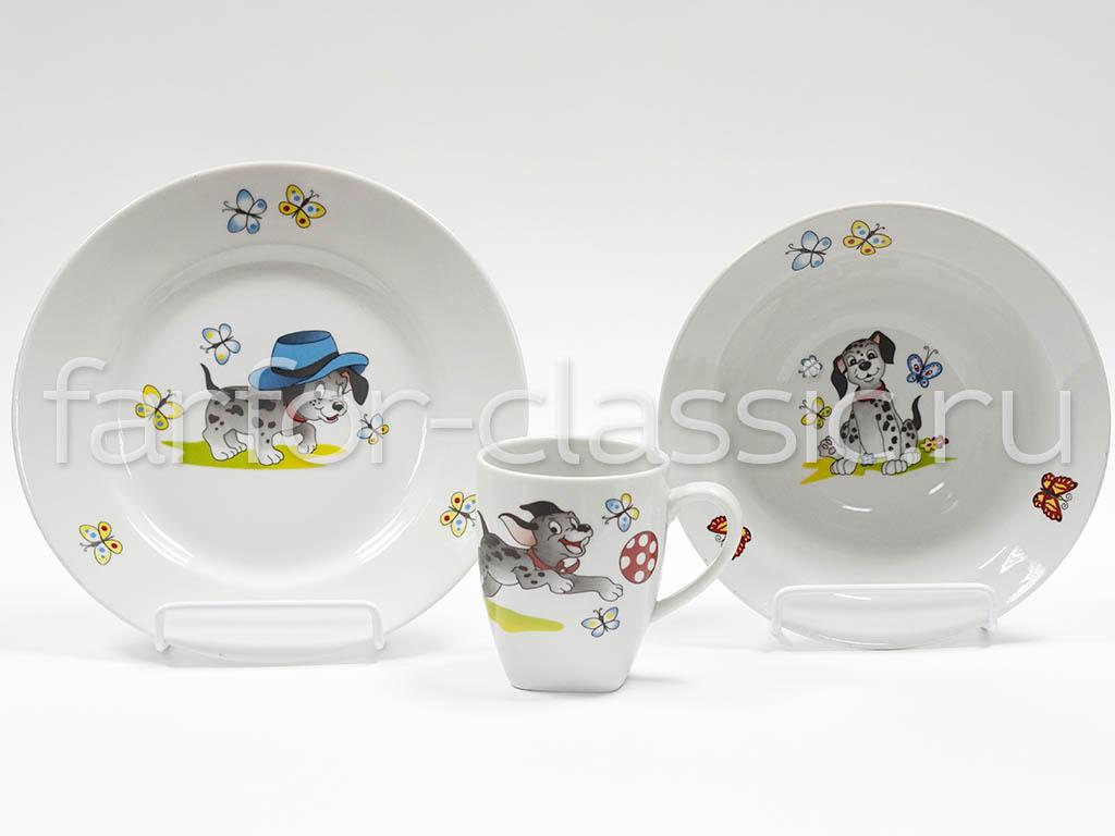 Фото Набор детской посуды Озорные щенки - 3 предмета с миской