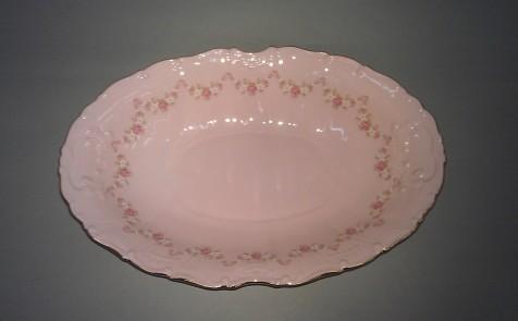Фото Блюдо овальное Леандер 26 см Форма Соната Розовый бордюр - Розовый фарфор