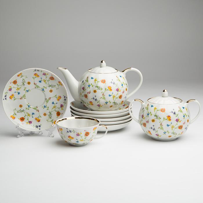 Фото Сервиз чайный Дулево Тюльпан Полевые цветы, 14 предметов