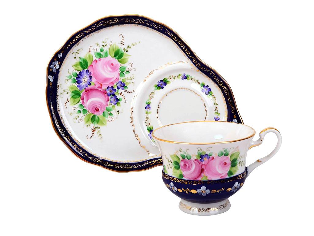 Фото Чашка чайная с блюдцем Гжель 270 мл Весенний Цветущий сад Художественная роспись