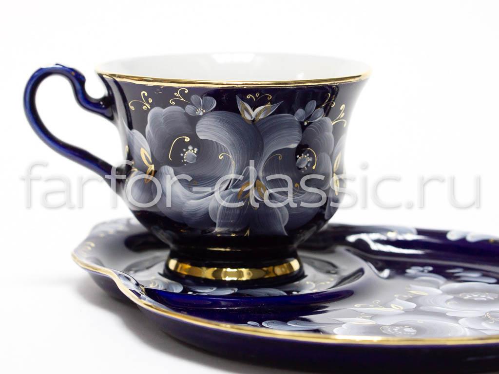 Фото Чашка чайная с блюдцем 270 мл Весенний Глухой кобальт