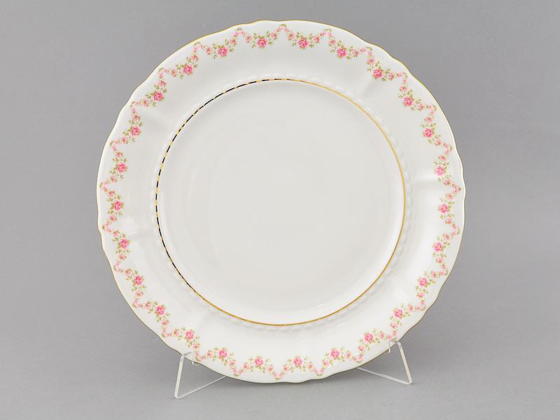 Фото Блюдо Леандер круглое мелкое 32 см Форма Соната Розовый бордюр