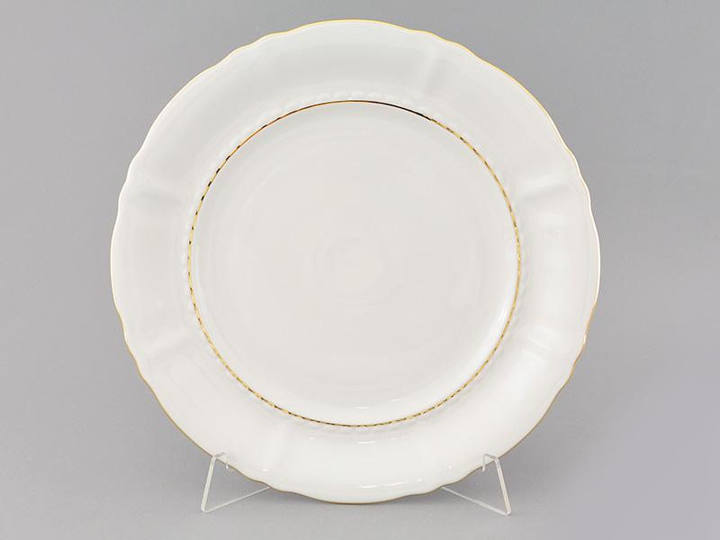 Фото Блюдо Леандер круглое мелкое 32 см Форма Соната Золотой контур