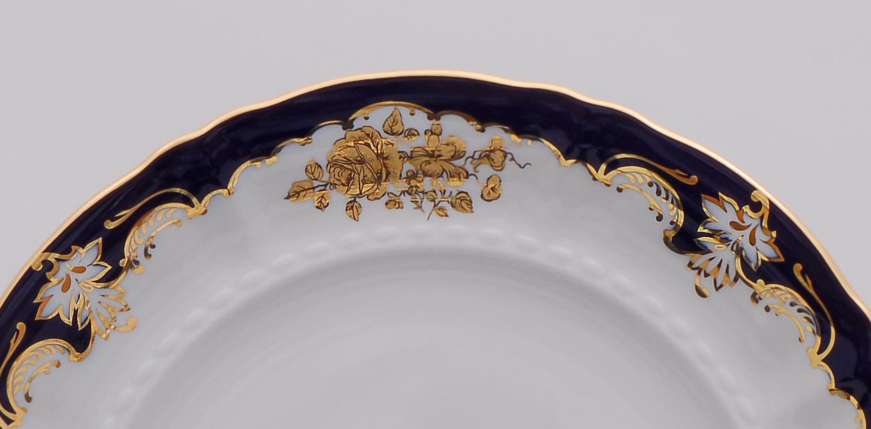 Фото Блюдо Леандер круглое мелкое 32 см Форма Соната Виноград и золотая роза кобальт