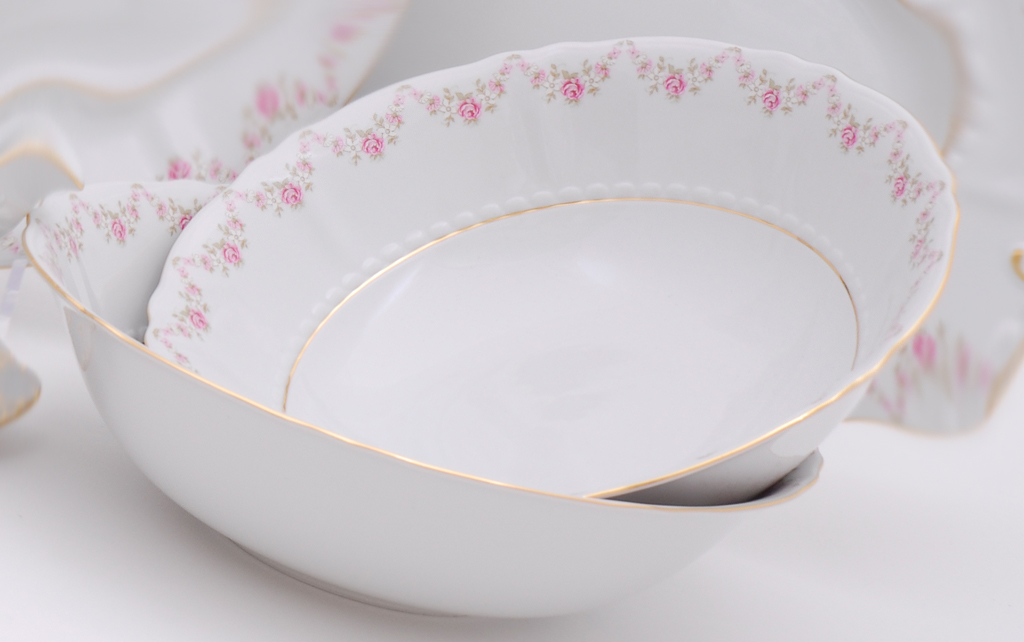 Фото Салатник круглый 16 см Форма Соната Розовый бордюр