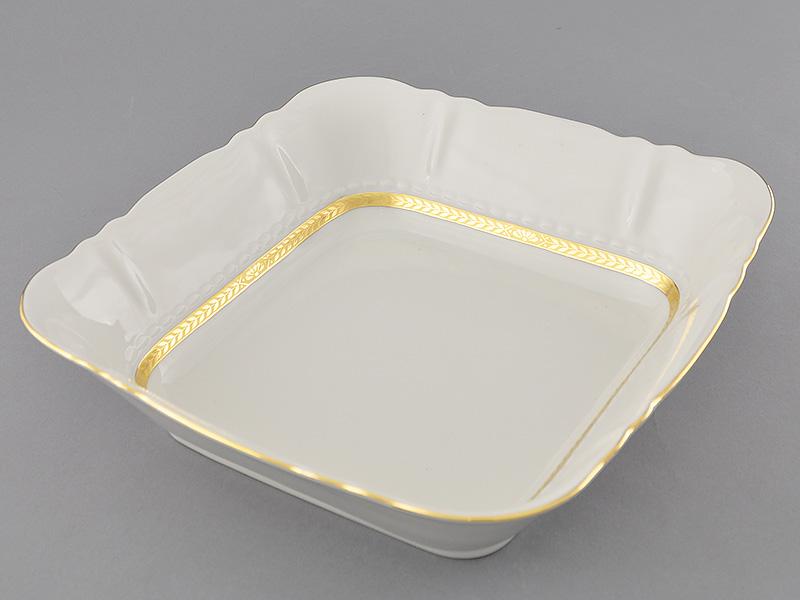 Фото Салатник квадратный 21 см Форма Соната Белиссима золото