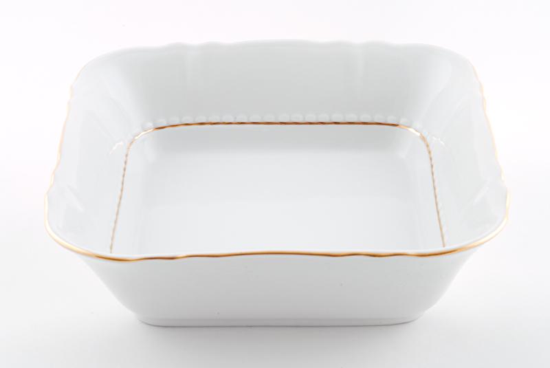 Фото Салатник квадратный 25 см Форма Соната Золотой контур