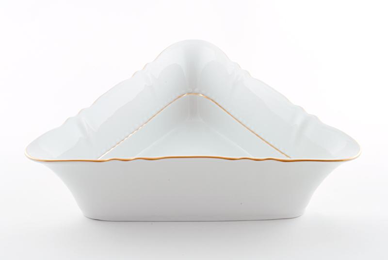 Фото Салатник треугольный 21 см Форма Соната Золотой контур