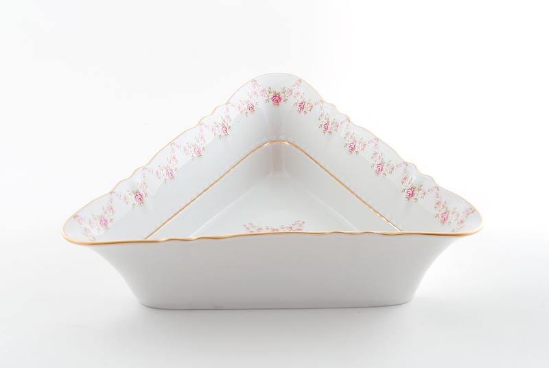 Фото Салатник треугольный 25 см Форма Соната Розовый бордюр