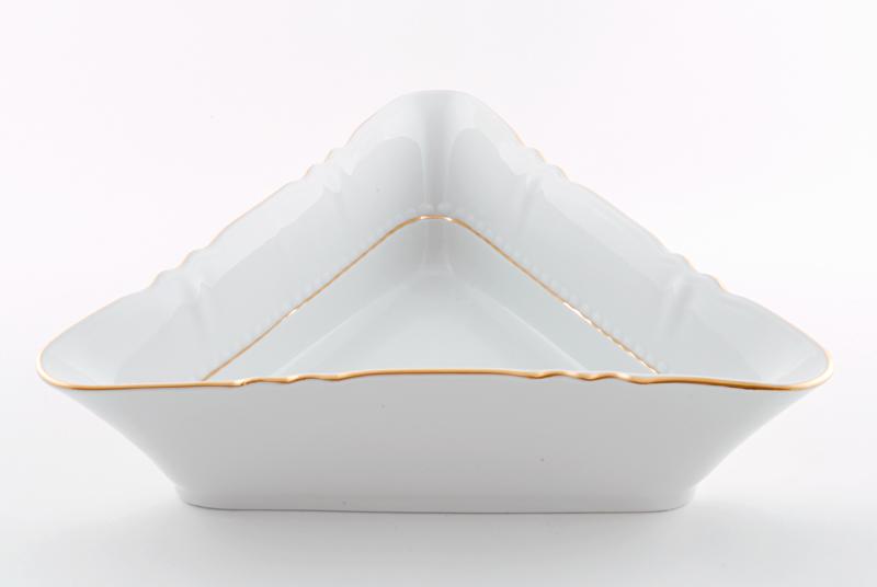 Фото Салатник треугольный 25 см Форма Соната Золотой контур