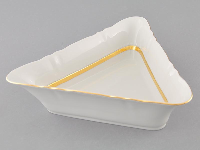 Фото Салатник треугольный 25 см Форма Соната Белиссима золото