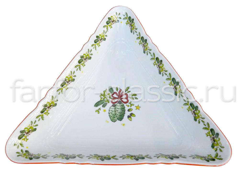 Фото Салатник треугольный 25 см Форма Мэри-Энн Новый Год