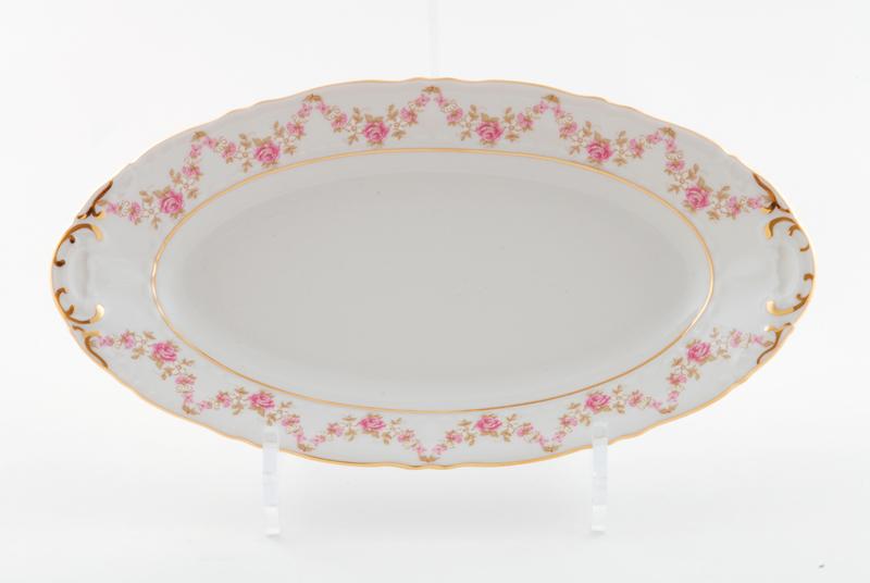 Фото Блюдо овальное Леандер 32 см Форма Соната Розовый бордюр