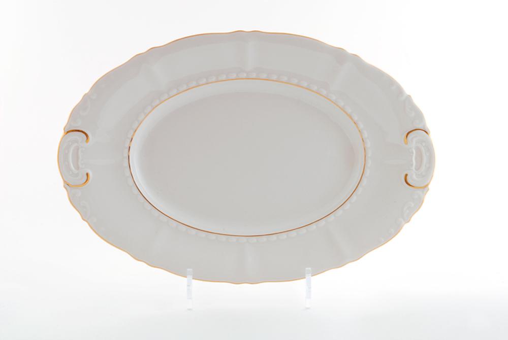 Фото Блюдо овальное Леандер 32 см Форма Соната Золотой контур