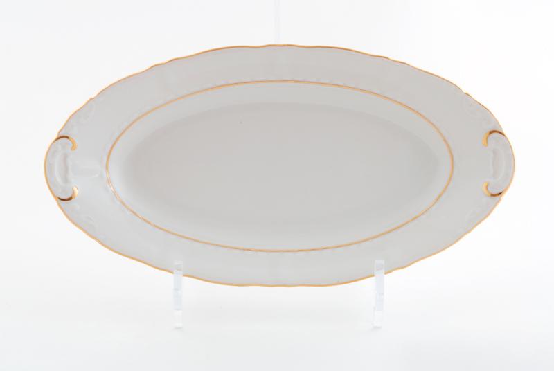 Фото Блюдо овальное Леандер 39 см Форма Соната Золотой контур