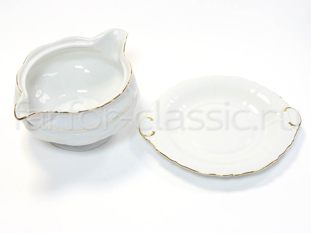Фото Соусница круглая с подставкой 350 мл Форма Соната Золотой контур