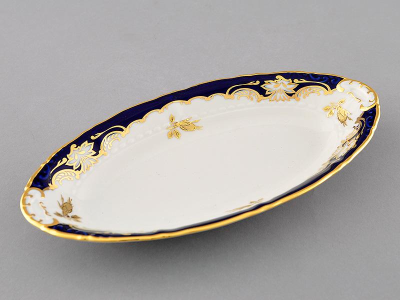 Фото Блюдо овальное Леандер 23 см Форма Соната Виноград и золотая роза кобальт