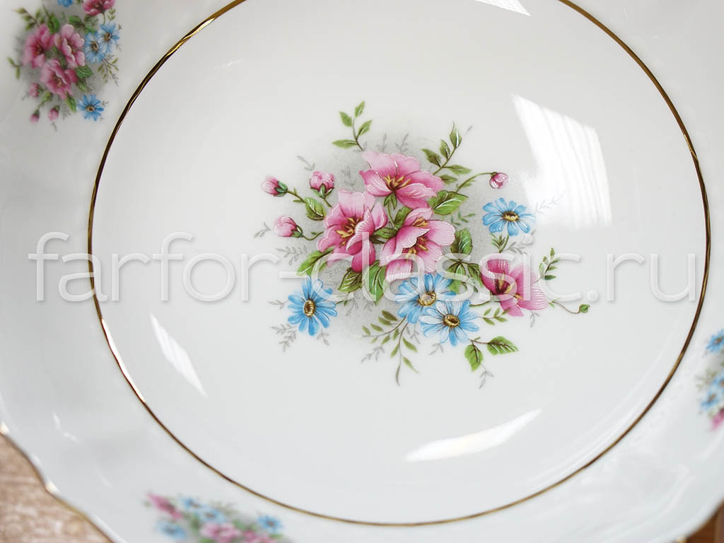 Фото Ваза для фруктов Леандер на ножке 23 см Форма Соната Полевые цветы