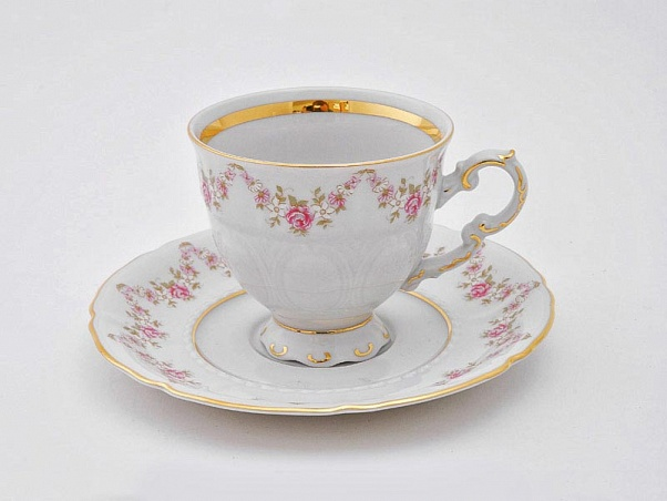 Фото Чашка кофейная с блюдцем 150 мл, Форма Соната Розовый бордюр