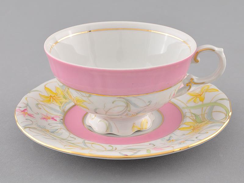 Фото Чашка с блюдцем 200 мл Форма Соната Розовый колокольчик