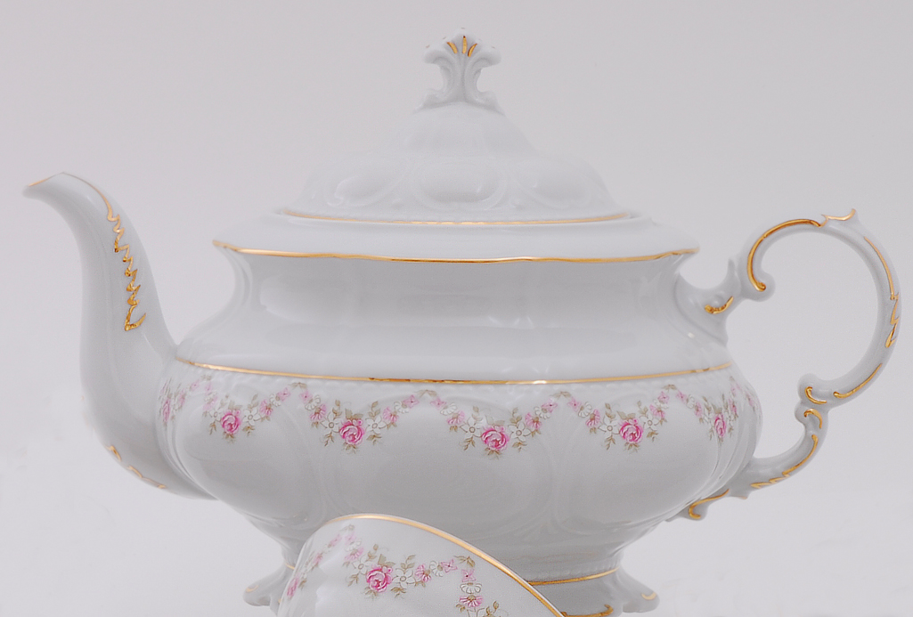 Фото Чайник 1,50 л Форма Соната Розовый бордюр