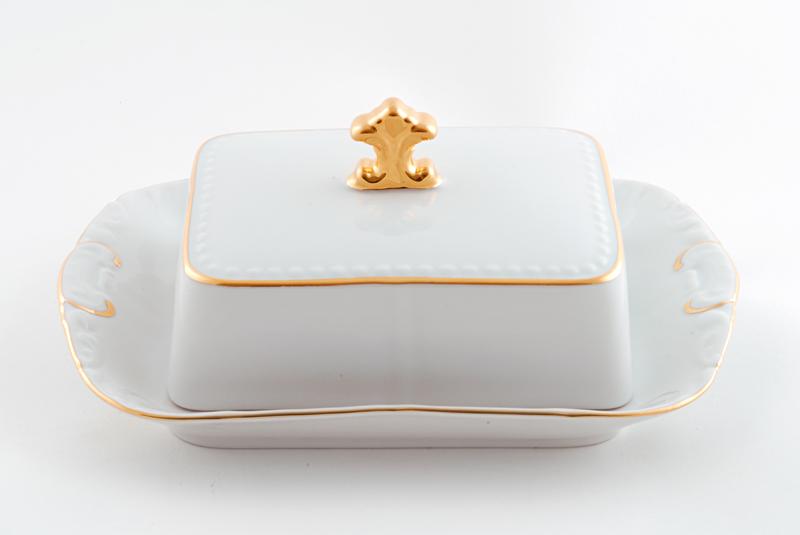 Фото Масленка граненая Леандер 250 мл, Форма Соната Золотой контур