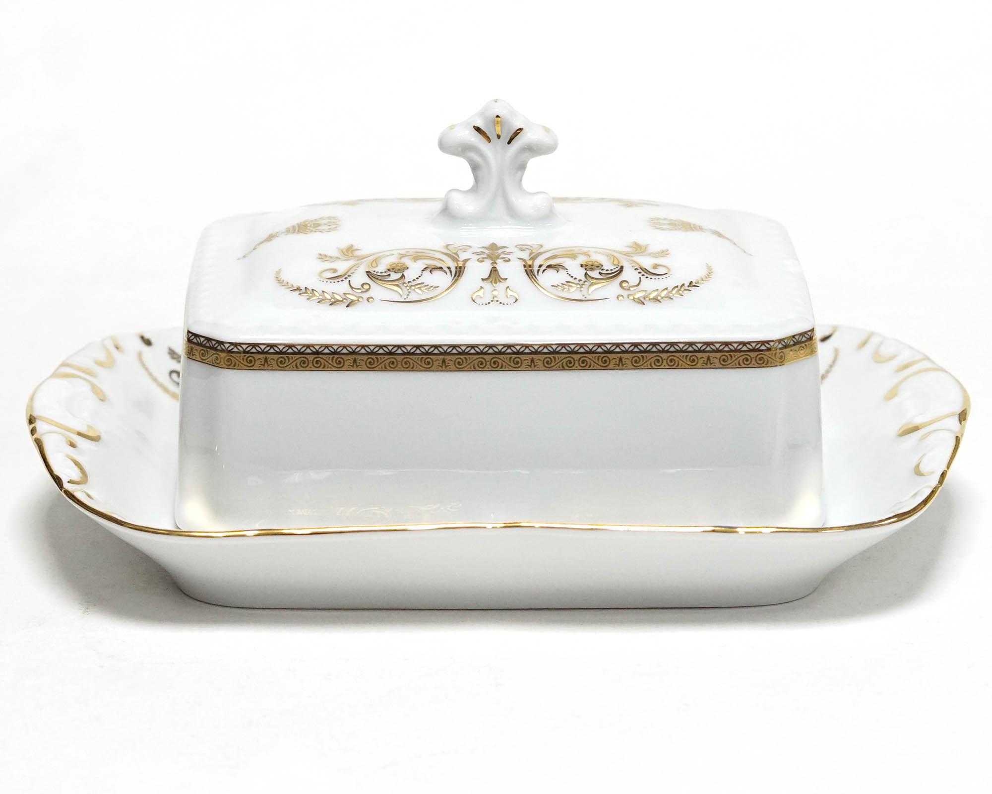 Фото Масленка граненая Леандер 250 мл, Форма Соната Королевский золотой